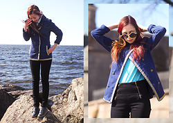 Treska Alina - Podium Market Sunglasses, H&M Jeans Jacket, Lindex Black Jeans, Zara Dark Blue Shoes - Cloud day