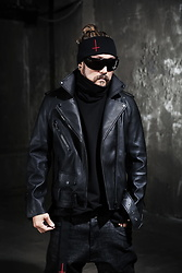 INWON LEE - Byther Black Leather Belted Rider Jacket, Byther Headband - Full on Leather Jacket