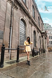 Leona Melíšková - Dress, Boots, Zara Belt - Yellow Dress