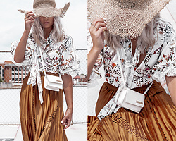 Kristina - Anne Fontaine Floral Blouse, Anne Fontaine Pleated Skirt - Pre-fall parisian boho style