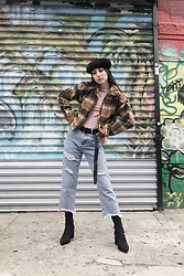 Yonish - Forever21 Black Furry Beret, Bershka Pink Turtleneck Top, Zaful Plaid Teddy Jacket, Popjulia Distressed Jeans, Missguided Sock Boots - Graffiti Girl