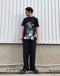 ★masaki★ - David Bowie Tee, Ch. Wide Trousers, Dr. Martens Loffers - OVER HAND EYE