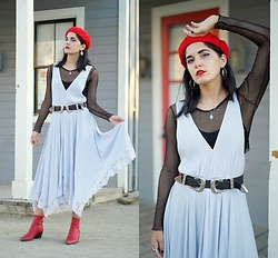 Lexi L - Free People Lilac Dress, B Low The Belt Double Buckle, Dolce Vita Red Ankle Boots, Red Beret - Daylight Matters
