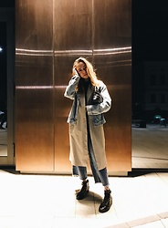 Yana - Pull & Bear Jeans Coat, Gate 31 Trench Coat, H&M Jeans, Carlo Pazolini Boots, Asos Bag - Cabbage