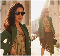 Edisa Shahini - Mango Blazer, Tod's Sunglasses, Zara Skirt, Saint Laurent Bag - FROM SUMMER TO FALL