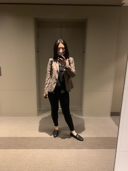 Jenny Hou - Sam Edelman Loafers, Zara Blazer - Formal work look