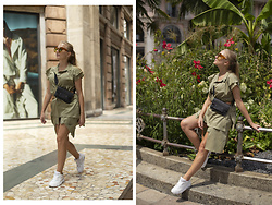 Ewa Michalik - Nike Sneakers, Bershka Shorts, Goshico Bag, Supernormal Sunglasses - Milan - City Jungle