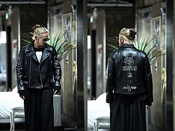 INWON LEE - Byther Brain Graffiti Lambskin Rider Jacket, Byther Wide Pants - Autumn is Here So Is The Leather Gang