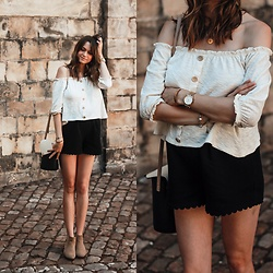 Audrey - Stradivarius Blouse, Majolica Shorts, Minelli Boots, Primark Bag - The last summer outfit