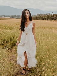 Gabby Chia - White Boho Maxi Dress, Black Crochet Ankle Strap Sandals - Flower Fields