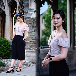 L Z - Forever 21 Off Shoulder Top, Uniqlo Culottes, Massimo Dutti Sandals - Pink Plaid