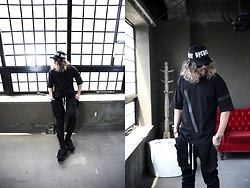 INWON LEE - Byther White Lettering Embroidery Black Baseball Cap, Byther Shirt, Byther Cargo Pants - Not The Other Cap. This Cap!