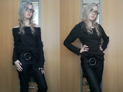 "Grim Alex - Prescription Glasses, Moon Necklace, Shein Dark Grey Sweater, Aliexpress Mix Of Rings, Stradivarius ""O"" Ring Belt, H&M Leather Like Black Jeggings - Sweater Weather"