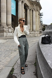 Anna Borisovna - Céline Shirt, Massimo Dutti Belt, Extreme Chic Pants, Cos Shoes, Céline Bag - Beige & Khaki