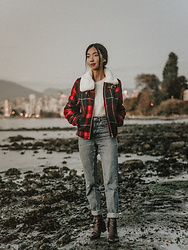 Gabby Chia - H&M White Mohair Sweater, H&M Plaid Fur Collar Jacket, Topshop Mom Jeans, Oak & Fort Burgandy Boots - Beach