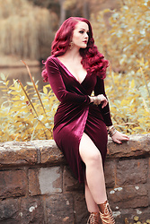 Charlotte S. - Unique Vintage Merlot Red Velvet Long Sleeve Damsel Wiggle Dress, Miss L Fire Frida Lace Up Booties In Gold - I'm on Fire