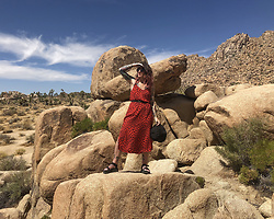 Jessie Barber - Jcpenney Red Maxi, Tevas Platform Sandals, Amazon Bucket Hat, Belt, Madewell Fest Aviators - Joshua Tree