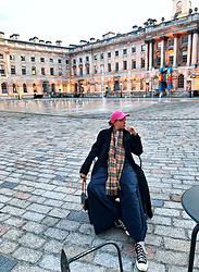 Karina Bogdan - Comme Des Garçons Shoes, Burberry Scarf, Furla Bag, Polo Ralph Lauren Cap, Hugo Boss Coat - Somerset House