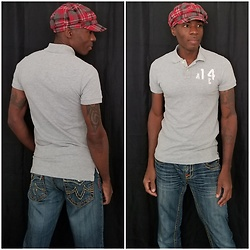 Thomas G - American Eagle Outfitters Vintage Fit Polo, Bisou D'eve Denim Jeans, Plaid Beret Newsboy Cap - Polo shirt + Denim jeans