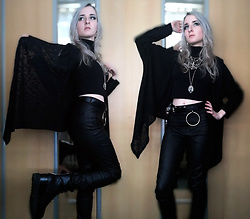 Grim Alex - Aliexpress Ankh Earrings, Claire's Spider Web Necklace, Crow Skull Necklace, Secondhand Cropped Turtleneck, Black O Ring Belt, Black Cardigan, H&M Black Wax Coated Jeggings, Graceland Black Platforms - World in My Eyes