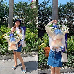Lan Chi Vu - Bata Flowers, Zara Skirt, Nike Hat, Chez Vu Amie Bag - Blue flowers