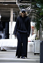 INWON LEE - Byther Loose Fit Hatchi Knit Hoodie, Byther Wide Pants, Byther Cap - Blacker than Black