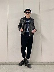 ★masaki★ - Kollaps Sayoko Yamaguchi, Ch. Moto Jacket, Ch. Cropped Trousers, Dr. Martens Limited 10hole, Newyorkhat Beret - All Black Outfit