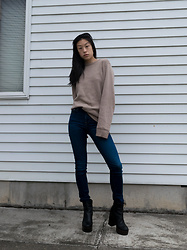 Gi Shieh - Croft & Barrow Camel Sweater, H&M Blue Jeans, Aldo Black Platform Boots - Nothing More Fall Than Camel + Blue Jeans + Boots