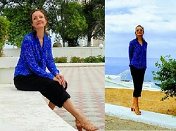 Galina K -  - Black jumpsuit and blue silk blouse