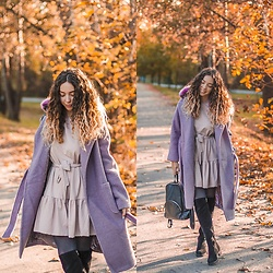 Gabriela Grębska - Na Kd Coat, Selfieroom Dress, Kadell Backpack, Wojas Boots - Purple coat