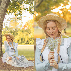 BG by Christina L - Nasty Gal Straw Boater Hat Black Detail, Amazon White Pinafore Apron - Anne Of Green Gables - DIY Costume @bgbychristina