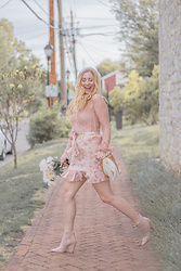 BG by Christina L - Amazon Pearl Velvet Headband, Forever 21 Blush Lace Blouse, Nasty Gal Blush Floral Print Ruffle Mini Skirt, Justfab Blush Booties, Poshmark Basket Bag - Blushing From Head To Toe