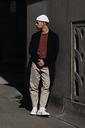 Kevin Elezaj - Converse Sneakers, Uniqlo Pants, A Day's March Knit, Urban Outfitters Coat, Asos Beanie - Downtown Manhattan