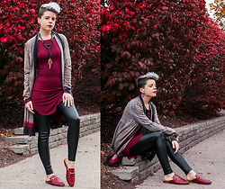 Carolyn W - Grey, Red, Topshop Faux Leather, Jenn Ardor Mules - Red Leaves