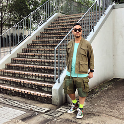 Mannix Lo - Online Shop Military Kimono, Cotton On Tee, Retrostone Remake Patchwork Military Cargo Shorts, Converse Chuck Taylor All Star Sneakers - Start where you are, Use what you have, Do what you can