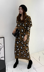 Miamiyu K - Miamasvin Leopard Print Long Sweater Dress - Sweet Instinct
