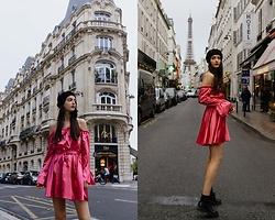 Nora Aradi - Stradivarius Beret, Pull & Bear Flats, Femmelux Dress - Little pink dress