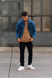 Kevin Elezaj - Sandro Sneakers, The Kooples Pants, Topman Sweater, A.P.C. Shirt - Easy going