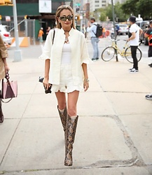 Lauren Recchia - Sleeper Ruffle Button Up, Sleeper Shorts, Paris Texas Boots, Gucci Socks - Sleepwear Turned Streetwear