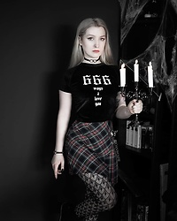 Joan Wolfie - Ninjacosmico Velvet Top, Alchemy England Choker, Black Milk Clothing Hosiery - 666 WAYS // Joan Wolfie