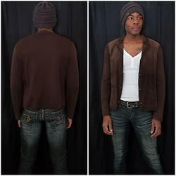 Thomas G - Jones New York Collection Suede Jacket, C.C Beanie, Old Navy 3 Button V Neck 3/4 Sleeve Shirt, Zco Premium Jeans - Beanie + Suede jacket + Jeans