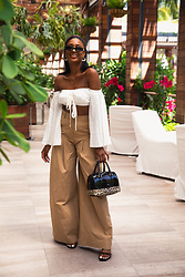 Ria Michelle - Wild Honey Bardot Top, Asos Design Super Wide Leg Cargo Pants, Furla Candy Leopard Print Satchel - Going Super Wide Leg