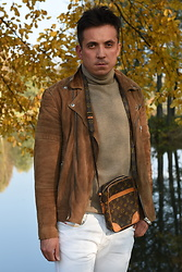 Pawel - Louis Vuitton Vintage Bag, Diesel Jeans, Selected Biker Jacket - Caffe Latte.