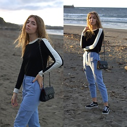 Alba Granda - Zara Black&White Sweater, Bershka Blue Cargo Pants, Zaful Black Leather Bag, Vans Black - Blue Sunset