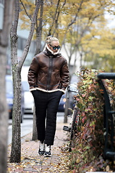 INWON LEE - Byther Over Silhouette Shearling Jacket, Byther Black Padded Pants - Brown Sheepskin Jacket In Nov.