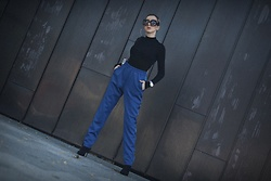 Ewa Macherowska - Only Pants, Second Hand Sweater, My Made Line Bag, Mango Boots, Pacze Sunglasses, Lolita Earrings, Michael Kors Watch - Cobalt Pants