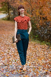 Bleu Avenue Ofbleuavenue - Femmeluxefinery Teal Belted Tapered Trousers Amber, Forever 21 Floral Ruffle Trim Top - The Teal Deal