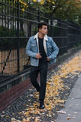 Kevin Elezaj - Zara Shoes, Topman Pants, Cos Sweater, Levi's® Jacket - Levi's x Jacquard by Google