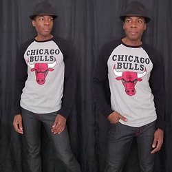 Thomas G - Unk Nba Longsleeve 'Chicago Bulls' Shirt, Stretch Denim Jeans, Faded Glory Fedora - Chicago Bulls