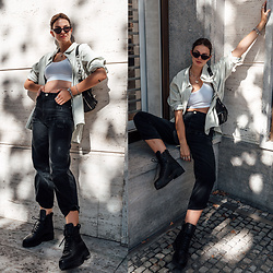 Jacky - Zara Shirt, American Apparel Top, Pinko Jeans, Via Omoda Boots, Bershka Belt Bag, Chimi Sunglasses - Oversized shirt with a crop top and boyfriend jeans